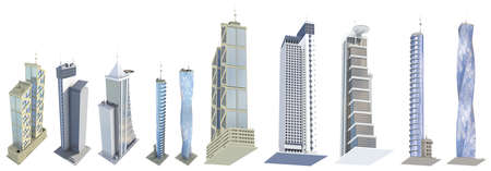 10 various angles views very detailed renders of fictional design city houses with blue sky reflections - isolated, 3d illustration of skyscrapers