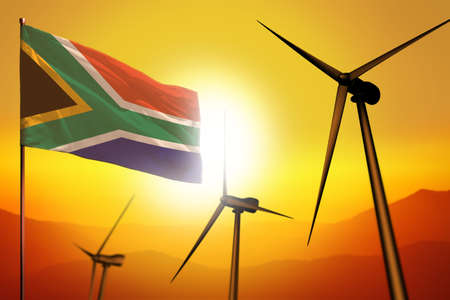 South Africa wind energy, alternative energy environment concept with turbines and flag on sunset - alternative renewable energy - industrial illustration, 3D illustration