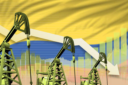 Colombia oil industry concept, industrial illustration - lowering down chart on Colombia flag background. 3D Illustration