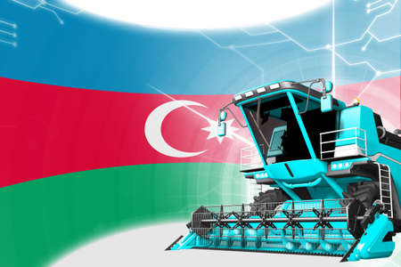 Agriculture innovation concept, blue advanced rye combine harvester on Azerbaijan flag - digital industrial 3D illustration