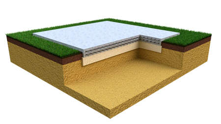poured reinforced cement slab base, isolated industrial 3D illustration