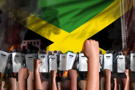 revolt stopping concept - protest in Jamaica on flag background, police special forces stand against the demonstrators crowd - military 3D Illustration