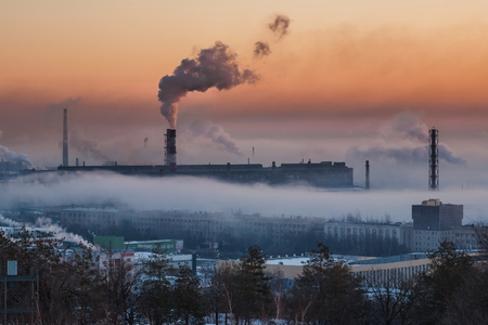 ironworks in smoke Zdjęcie Seryjne