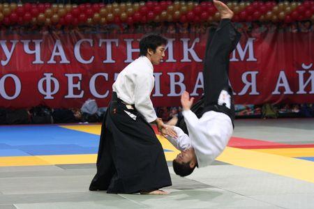 Russland, Moskau, 23 Oktober 2010., internationales Festival der aikido.mitsuteru Ueshiba-Waka Sensei, Kopf des World Center des Aikido, der Enkel des Gr�nders des Aikido Morihei Ueshiba. Editorial