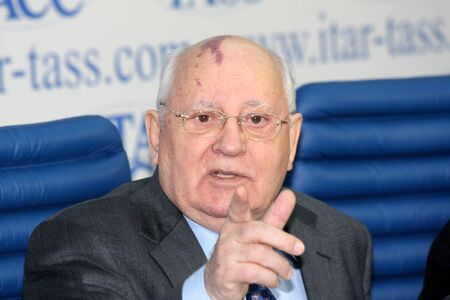 gorbachev: Rossiya.Moskva.21 February 2011g.ITAR-TASS reported. Press conference of Soviet President Mikhail Gorbachev. In the photo: Mikhail Gorbachev.