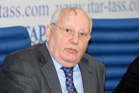mikhail: Rossiya.Moskva.21 February 2011g.ITAR-TASS reported. Press conference of Soviet President Mikhail Gorbachev. In the photo: Mikhail Gorbachev.