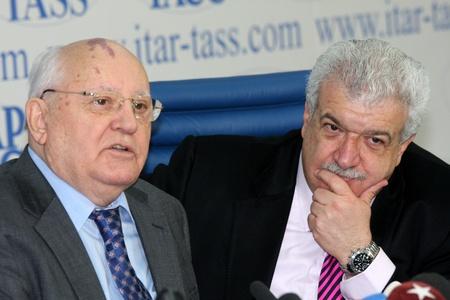 Rossiya.Moskva.21 Februar 2011g.ITAR-TASS berichtete. Pressekonferenz von sowjetischen Pr�sidenten Michail Gorbatschow. Auf dem Foto: Mikhail Gorbachev.  Editorial
