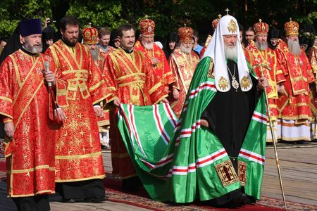 May 2011. Moskva.Bozhestvennaya Liturgy under the open sky at Butovo poligone.Na photo:Patriarch of Moscow and All Russia, Kirill