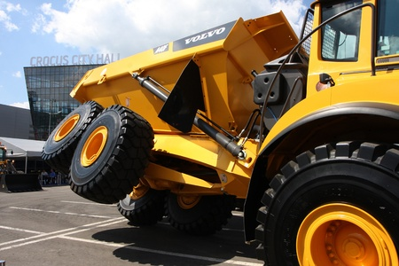 May 31 2011g.rossiya.moskva.IEC Crocus Expo ``. 12th International Specialized Exhibition of `Civil Engineering and Technology 2011 . In the photo: articulate dumper Volvo. Editorial