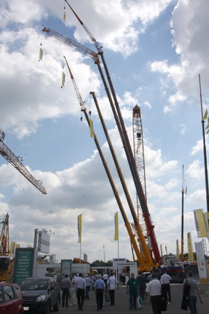 May 31 2011g.rossiya.moskva.IEC Crocus Expo ``. 12th International Specialized Exhibition of `Civil Engineering and Technology 2011 . In the photo: construction cranes. Editorial