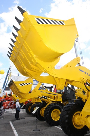 May 31 2011g.rossiya.moskva.IEC Crocus Expo ``. 12th International Specialized Exhibition of `Civil Engineering and Technology 2011 . In the photo: bulldozer buckets. Editorial