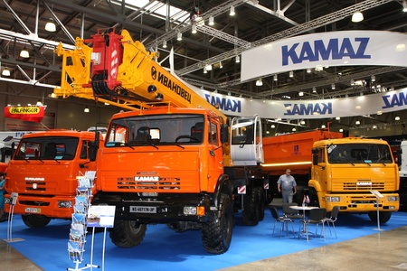 May 31 2011g.rossiya.moskva.IEC Crocus Expo ``. 12th International Specialized Exhibition of `Civil Engineering and Technology 2011 . In the photo: booth KAMAZ.