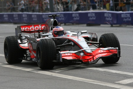 Russia. Moskva.17iyulya 2011. Motorsport show Moscow City Racing. This photo shows the world champion in the class of `F1`, pilot Vodafone Mclaren Mercedes Team Jenson Button.