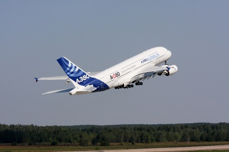 Rossiya.16 August 2011g.10 th International Aviation and Space Salon MAKS-2011 ``. In the photo: airliner Airbus A-380.