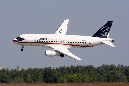 shows the passenger plane Sukhoi Superjet-100.