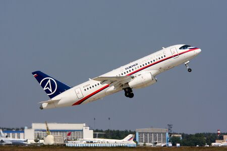 Rossiya.16 August 2011 10th International Aviation and Space Salon MAKS-2011 ``. This photo shows the passenger plane Sukhoi Superjet-100.