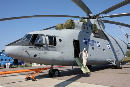 Rossiya.16 August 2011 10th International Aviation and Space Salon MAKS-2011 ``. This photo shows the helicopter Mi-26T2. Editorial
