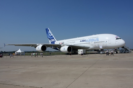 Rossiya.16 August 2011 10th International Aviation and Space Salon MAKS-2011 ``. In the photo: airliner Airbus A-380.