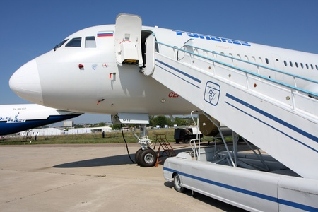 Rossiya.18 August 201110th International Aerospace Show MAKS-2011 ``. In the photo: airliner Tu-204 CM. Editorial
