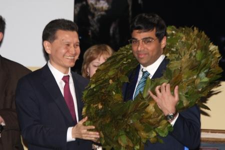 Moskau. Staatliche Tretjakow Callery. May 31,2012. Schach-Weltmeisterschaft match.The Abschlusszeremonie. Weltmeister Viswanathan Anand.