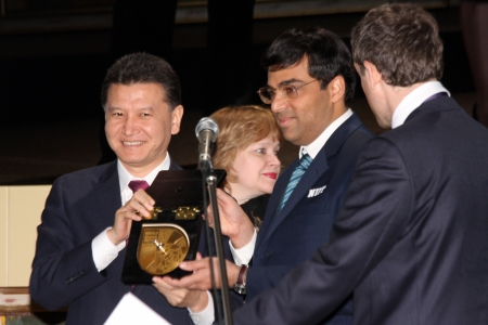Moscow. State Tretyakov callery. May 31.2012. World chess championship match.The closing ceremony. Champion Viswanathan Anand.
