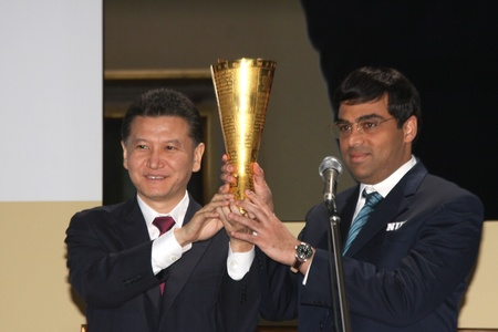 Moscow. State Tretyakov callery. May 31.2012. World chess championship match.The closing ceremony. Champion Viswanathan Anand.