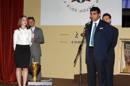 Moscow. State Tretyakov callery. May 31.2012. World chess championship match.The closing ceremony. Champion Viswanathan Anand.  Stock Photo - 13893702