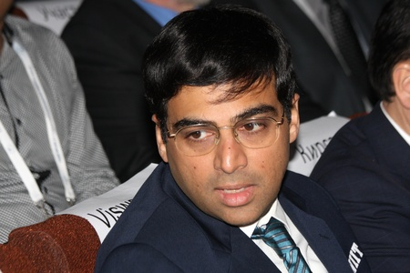 Moscow. State Tretyakov callery. May 31.2012. World chess championship match.The closing ceremony. Champion Viswanathan Anand.  Stock Photo - 13893703