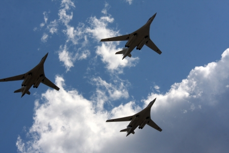 10 August 2012. Russia. Zhukovsky. Festival dedicated to the 100th anniversary of the Air Forces of Russia. In the picture: strategic bombers Tu-160