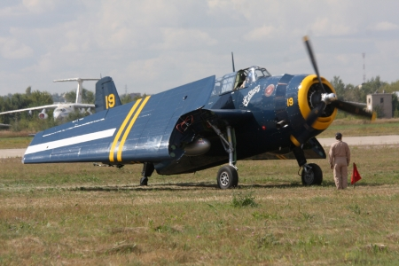 10 August 2012. Russia. Zhukovsky. Festival dedicated to the 100th anniversary of the Air Forces of Russia. In the photo: vintage aircraft.
