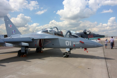 10 August 2012. Russia. Zhukovsky. Airshow `100 years Russian air force`. This photo shows the training aircraft Yak-130.