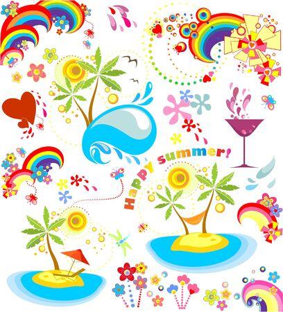 rainbow cocktail: Conjunto de iconos de vacaciones de verano