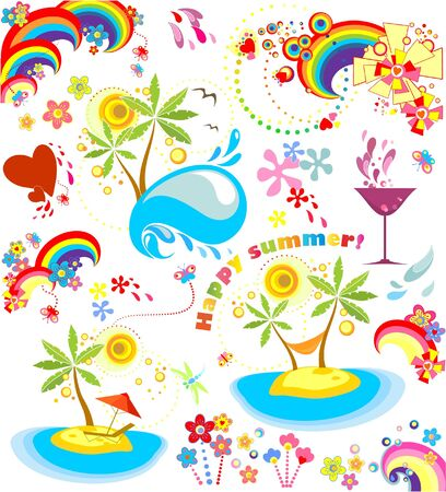 rainbow cocktail: Set of summer holiday icons