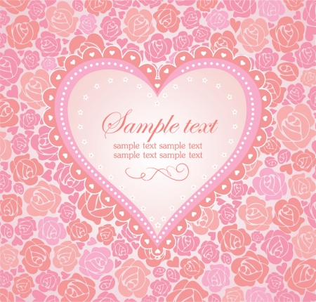 date of birth: Beautiful greeting card with heart