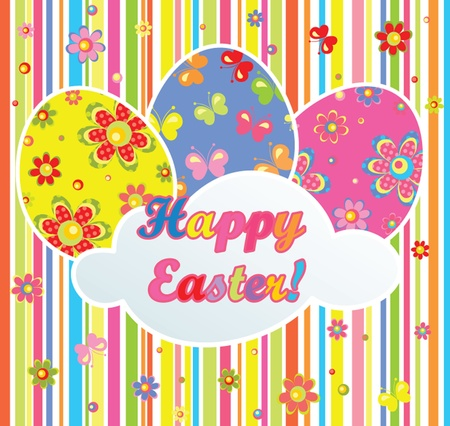coloured background: Colorful easter postcard