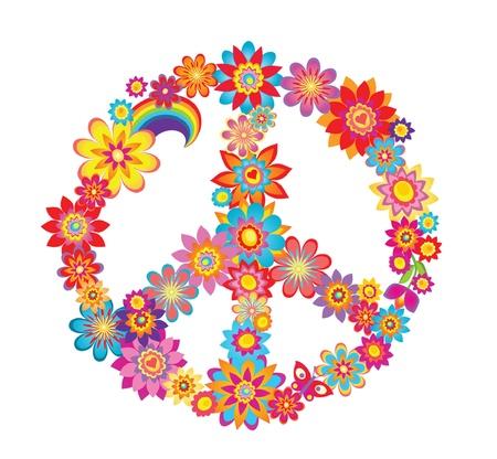 paz: Colorful paz símbolo da flor
