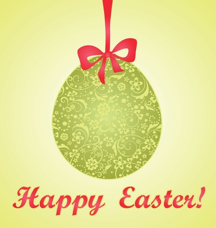 Easter card with green decorative egg Vector