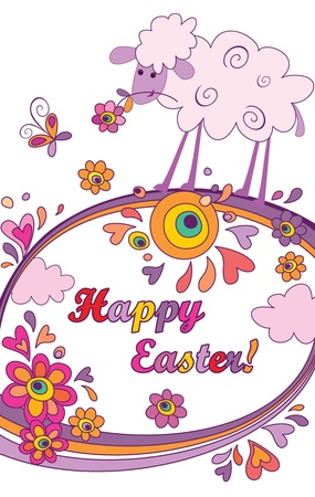 Funny easter background with lamb Vector