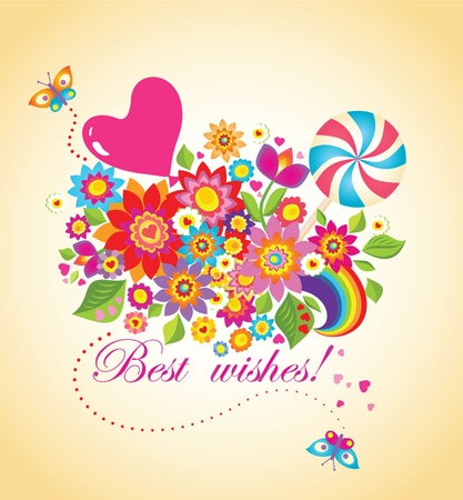 Funny greeting bouquet with balloon and candy Vector