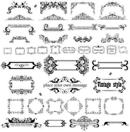esquineros de flores: Retro partida y marcos Vectores