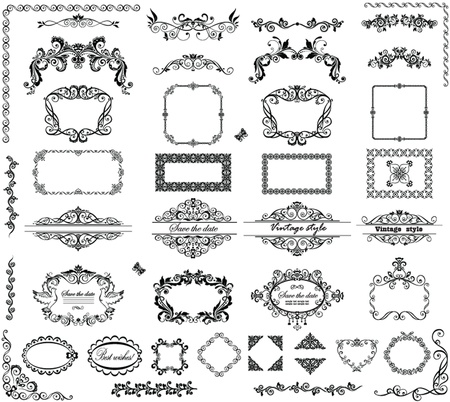 Vintage frames and headers Illustration