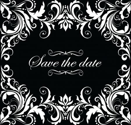 invitacion boda vintage: Invitaci�n de la boda del vintage (blanco y negro)