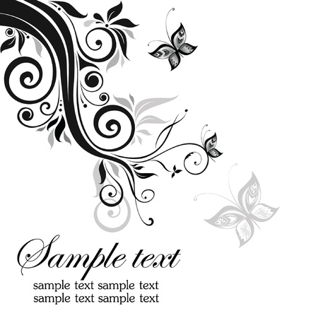 Decorative floral border (black and white) Vector