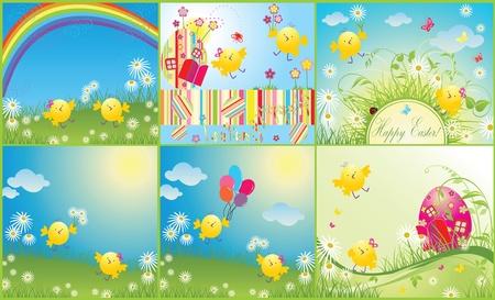 cartoon summer: Easter cards