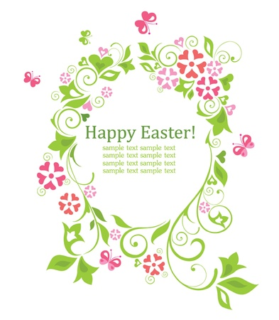 Easter wreath with egg shape Vector