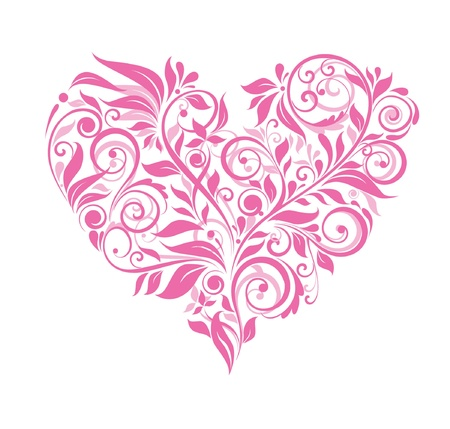 Greeting card with pink floral heart Stock Vector - 18760901