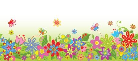 flor caricatura: Frontera floral sin fisuras Vectores