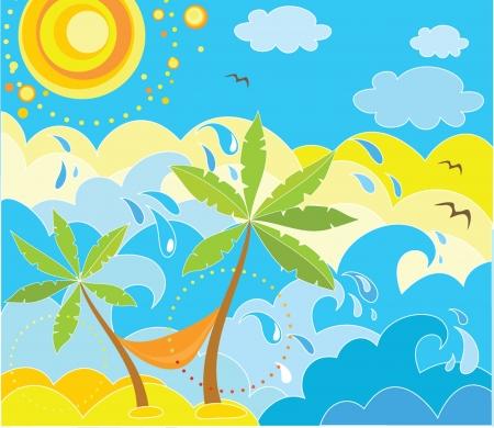 bird of paradise: Summer holiday background Illustration