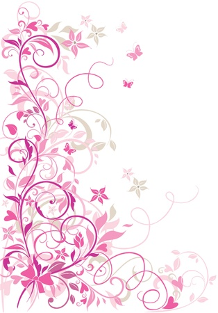 pink butterfly: Valentine floral border