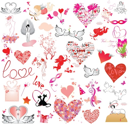 Valentines day object collection Vector